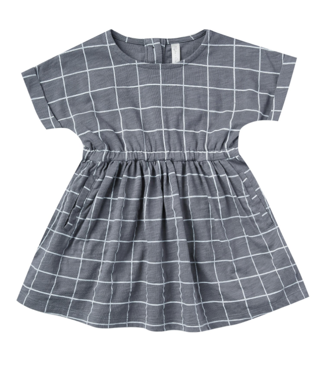 Rylee + Cru Wavy Checked Washed Indigo Kat Dress