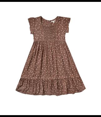 Rylee + Cru Girls Madeline Wine Dot Dress
