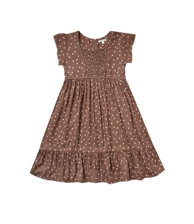 Rylee + Cru Girls Madeline Wine Dot Dress