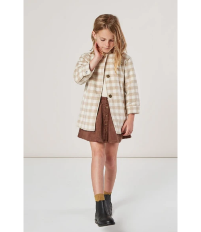Rylee + Cru No Collar Oat Check Coat
