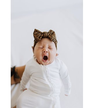 Baby Bling Printed Knot Bow Leopard