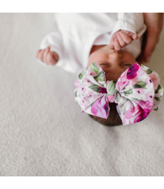 Baby Bling Printed Knot Bow Pink Rose