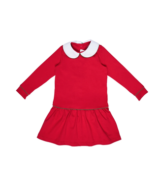Lila and Hayes Lillian Red Peter Pan Collar LS Dress