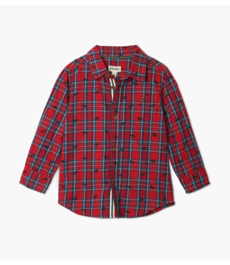 Hatley Holiday Plaid Moose Button Down Shirt