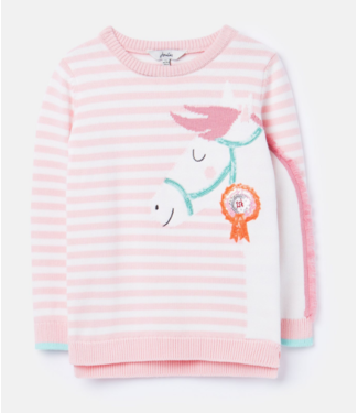 Joules Geegee Pink Stripe Horse Sweater