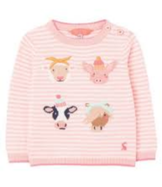 Joules Holly Pink Stripe Faces Baby Sweater