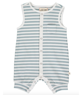Me & Henry Pablo Blue & White Ribbed Playsuit