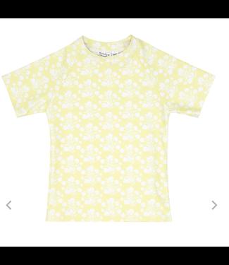 Minnow Swim Yellow Floral Short Sleeve Rashguard