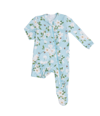 Angel Dear Magnolia Blue Zipper Footie