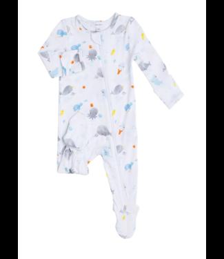 Angel Dear Baby Shark Zipper Footie White