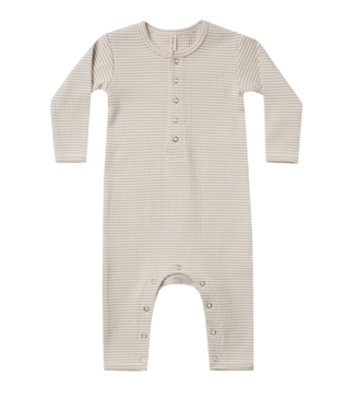 Quincy Mae Ribbed Baby Jumpsuit - Ash Stripe