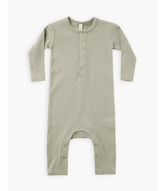 Quincy Mae Ribbed Baby Jumpsuit - Sage