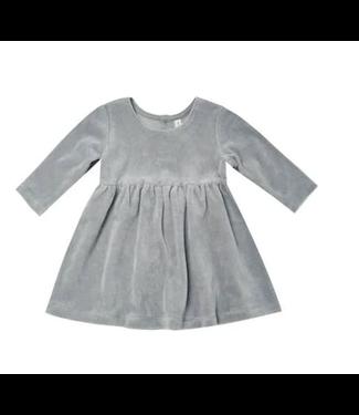 Quincy Mae Velour Longsleeve Dress - Dusty Blue