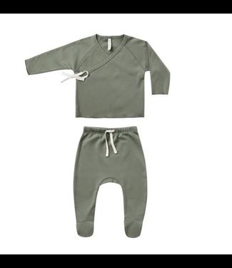 Quincy Mae Wrap Top + Pant Set - Basil