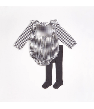 Charcoal Gingham Print Brushed Twill Romper with Tights (2 pcs.)