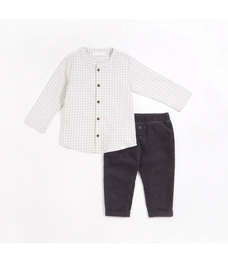 Lunar Grey Gingham Print Brushed Twill Cord Outfit Set (2 pcs.)