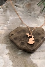 MY CAPTURED JOURNEY MINI MICHIGAN NECKLACE-ROSE GOLD