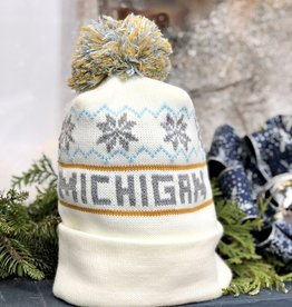 WHITE MICHIGAN BEANIE