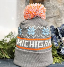 GREY MICHIGAN BEANIE