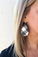 BLACK & WHITE PLAID LEATHER EARRINGS