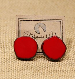 STEFANIE WOLF DESIGNS RED FULL CIRCLE GLASS EARRINGS