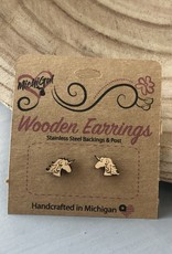 COASTAL SANDS WOODEN EARRINGS UNICORN STUDS