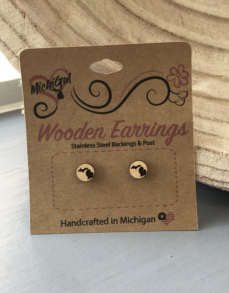 COASTAL SANDS WOODEN EARRINGS MICHIGAN STUDS