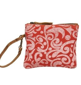 MYRA BAGS BURGUNDY FLORAL POUCH