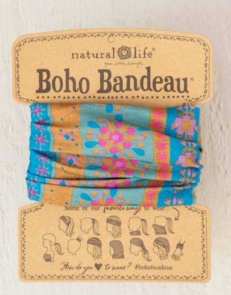 NATURAL LIFE BOHO BANDEAU AQUA STRIPE
