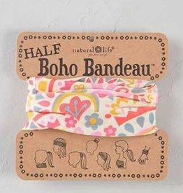NATURAL LIFE HALF BOHO BANDEAU CREAM & PINK GEO