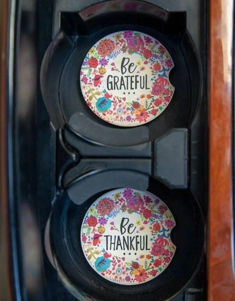 NATURAL LIFE CAR COASTER GRATEFUL & THANKFUL