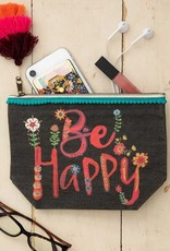 NATURAL LIFE BE HAPPY CANVAS POUCH