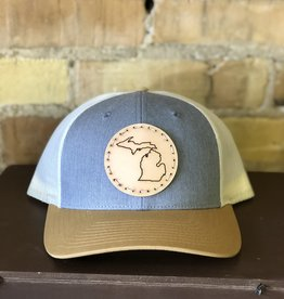 FRESH WATER DESIGN CO MICHIGAN LEATHER PATCH TRUCKER HAT GREY/GOLD
