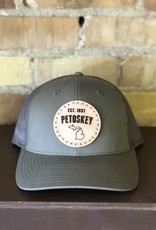 FRESH WATER DESIGN CO PETOSKEY LEATHER PATCH TRUCKER HAT OLIVE