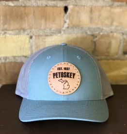 FRESH WATER DESIGN CO PETOSKEY PATCH TRUCKER HAT LIGHT BLUE