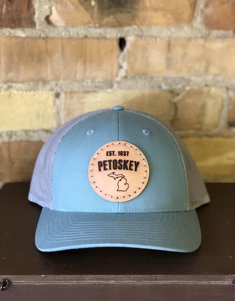 FRESH WATER DESIGN CO PETOSKEY PATCH TRUCKER HAT LIGHT BLUE