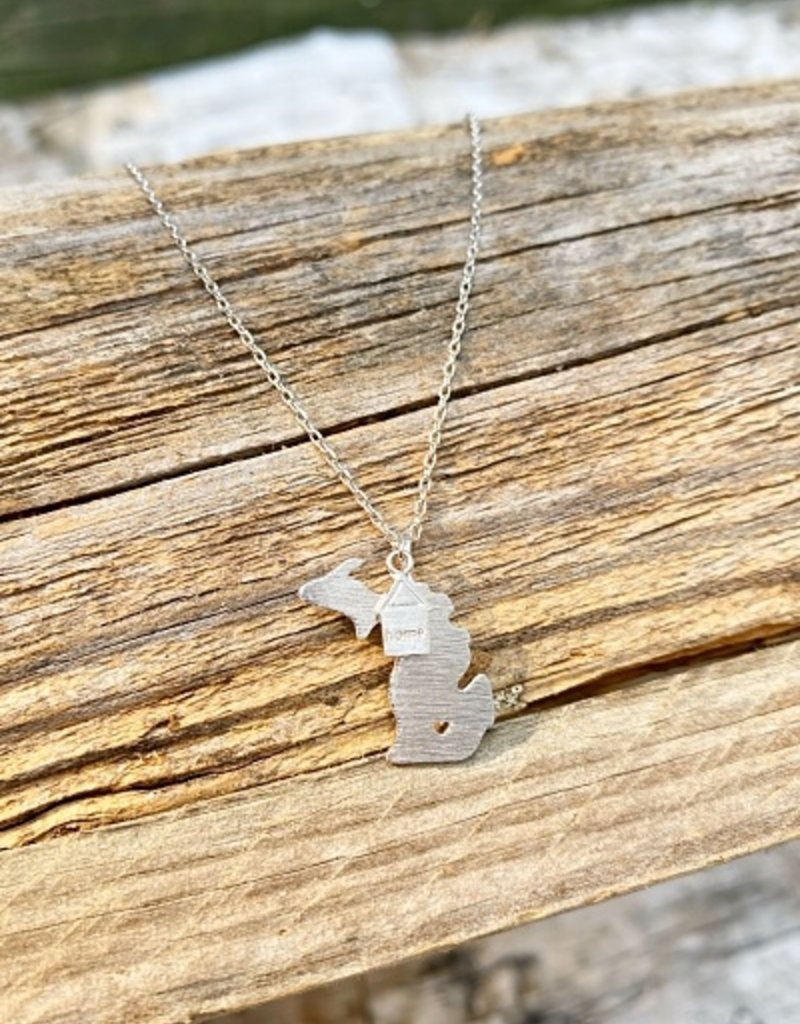 CAI (COOL AND INTERESTING) SILVER HOME STATE NECKLACE MI
