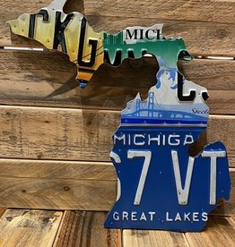 SMALL MICHIGAN LICENSE PLATE MAP