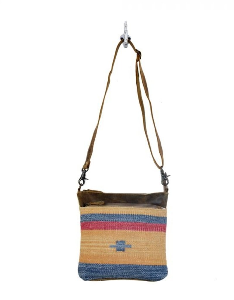 YELLOW AND BLUE STRIPES CROSS BODY