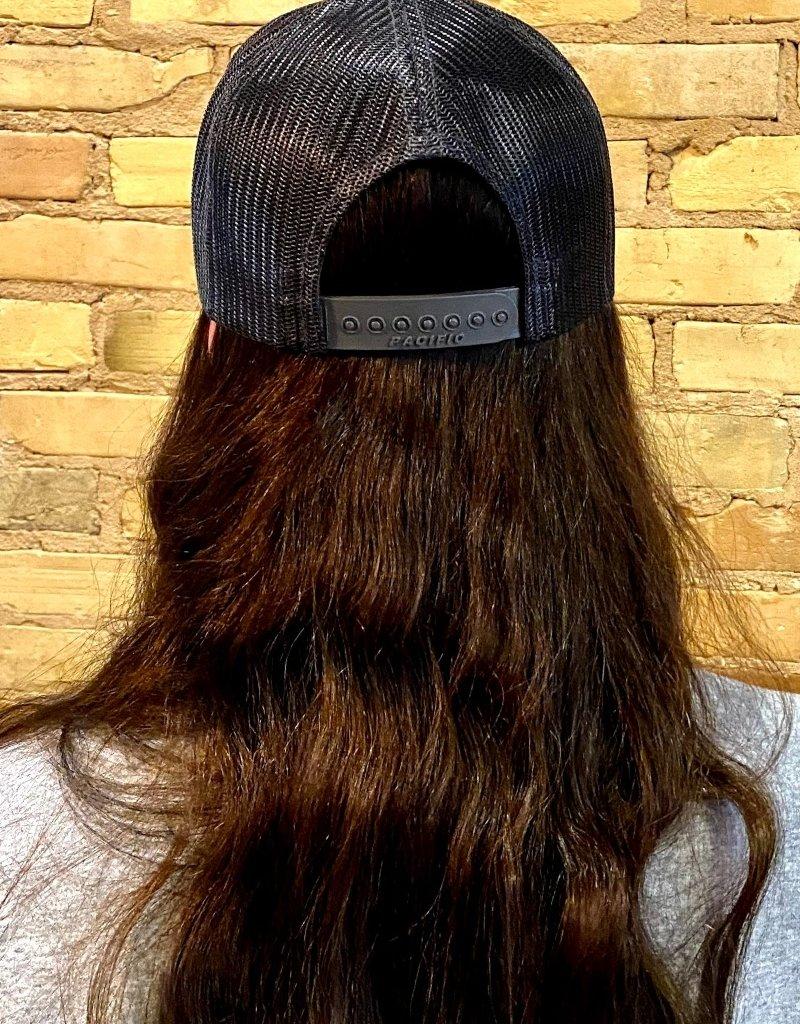 PETOSKEY STONE DETAIL TRUCKER HAT-BLACK/GRAPHITE