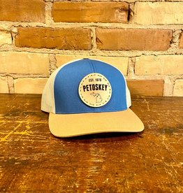 PETOSKEY LEATHER PATCH TRUCKER HAT-BLUE/BEIGE