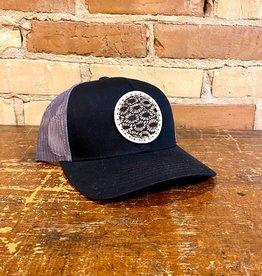 PETOSKEY STONE DETAIL TRUCKER HAT- BLACK/GRAPHITE