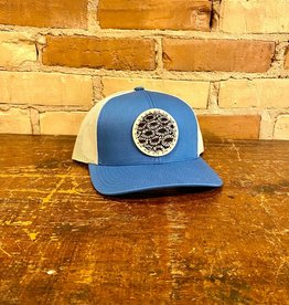 PETOSKEY STONE DETAIL TRUCKER HAT- BLUE/BEIGE