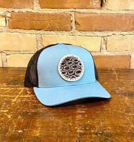 PETOSKEY STONE DETAIL TRUCKER HAT-SMOKE BLUE/CHARCOAL