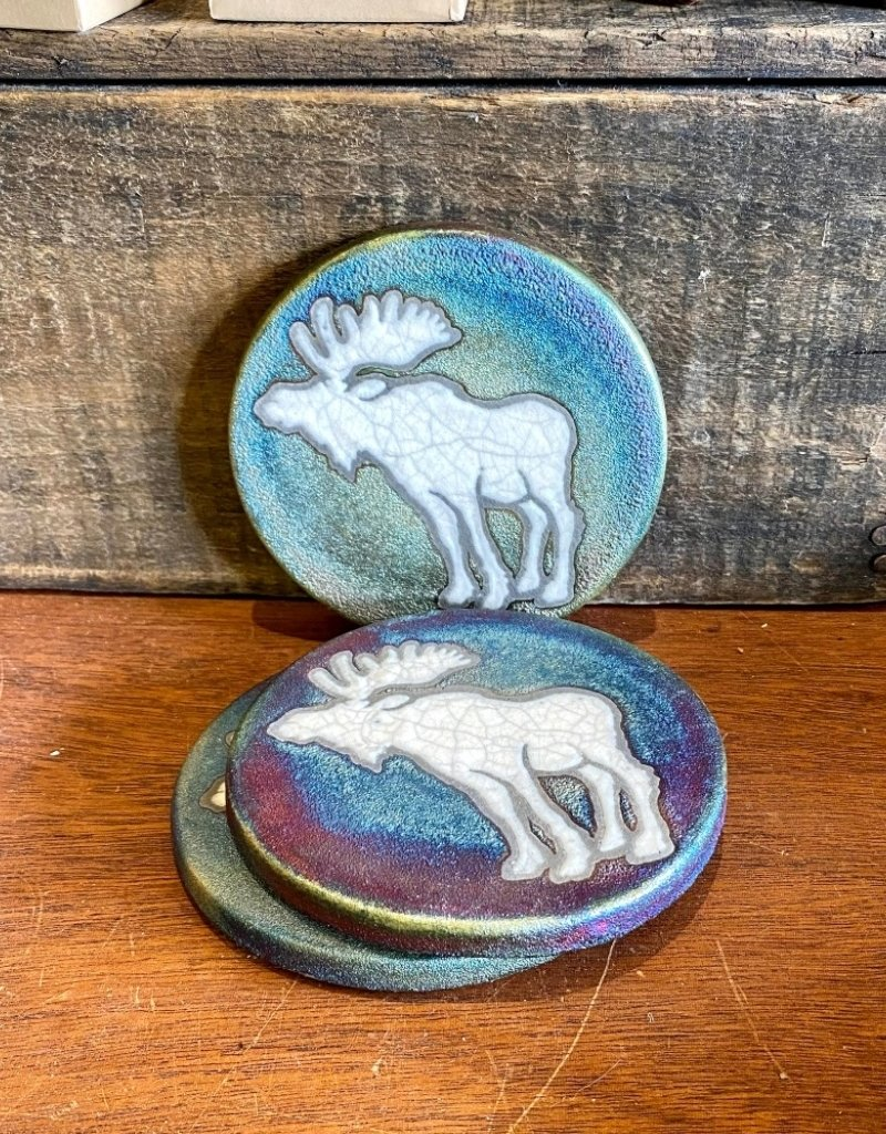 HAND-PAINTED MOOSE COASTER