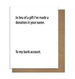 BANK DONATION GREETING CARD