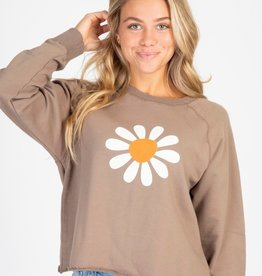 FLOWER CROPPED SWEATSHIRT