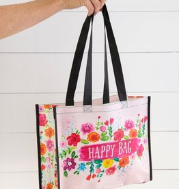 LARGE PINK FLORAL HAPPY BAG