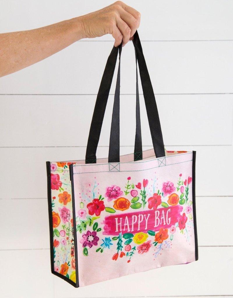 LARGE PINK FLORAL HAPPY BAG