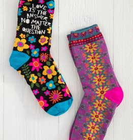 LOVE IS THE ANSWER BOHO SOCKS- SET OF 2